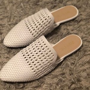 Restricted Shoes - White pointed toe mules